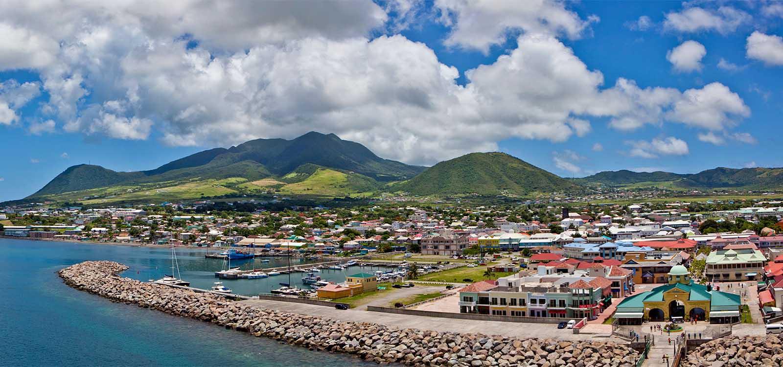 Aerial view of St Kitts seashore.