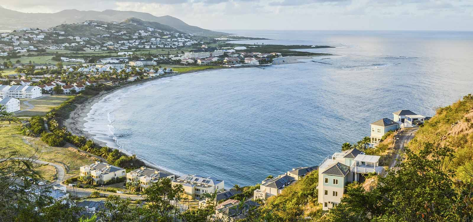 Aerial view of Basseterre, capital of St Kitts & Nevis.