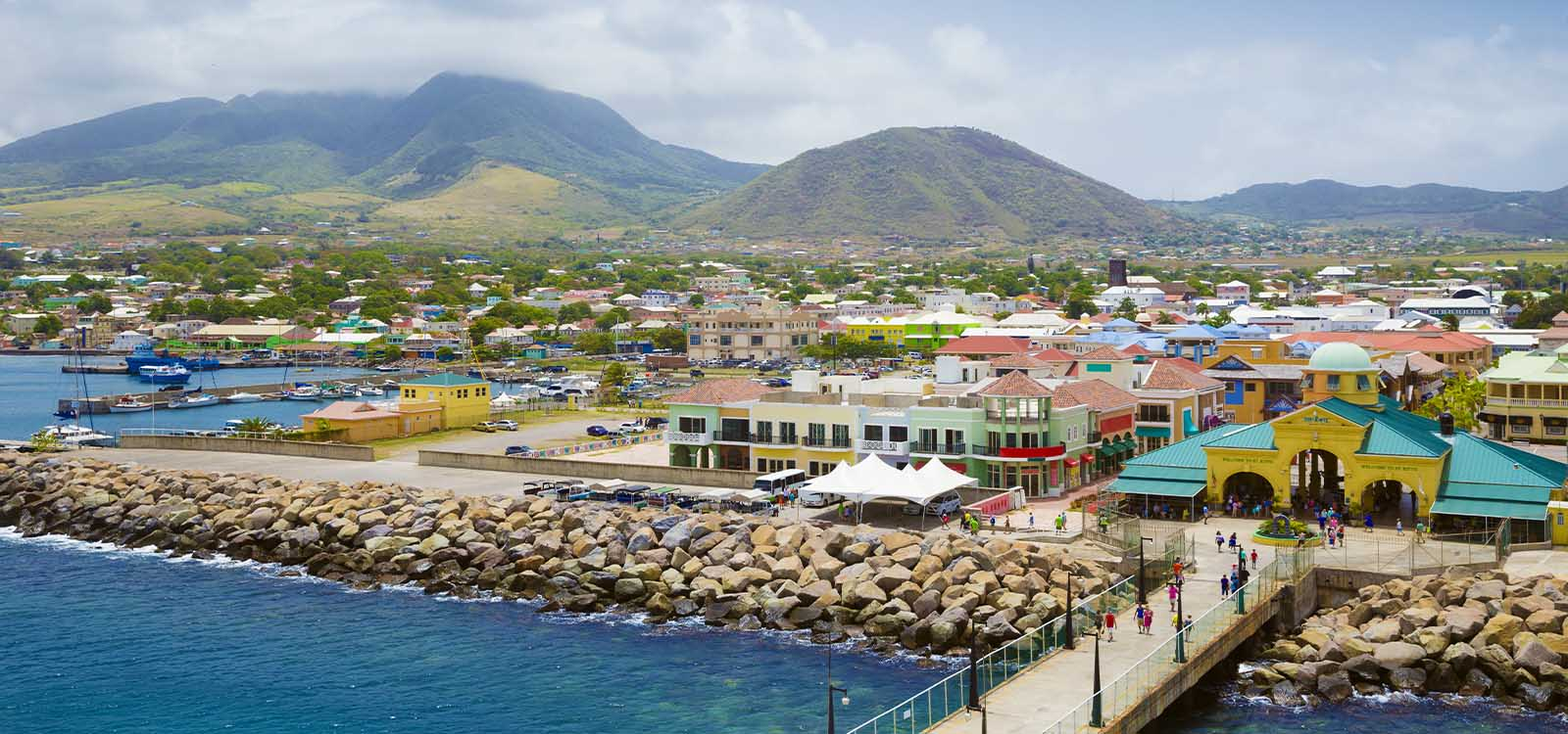 Aerial view of Basseterre, Capital of St Kitts & Nevis