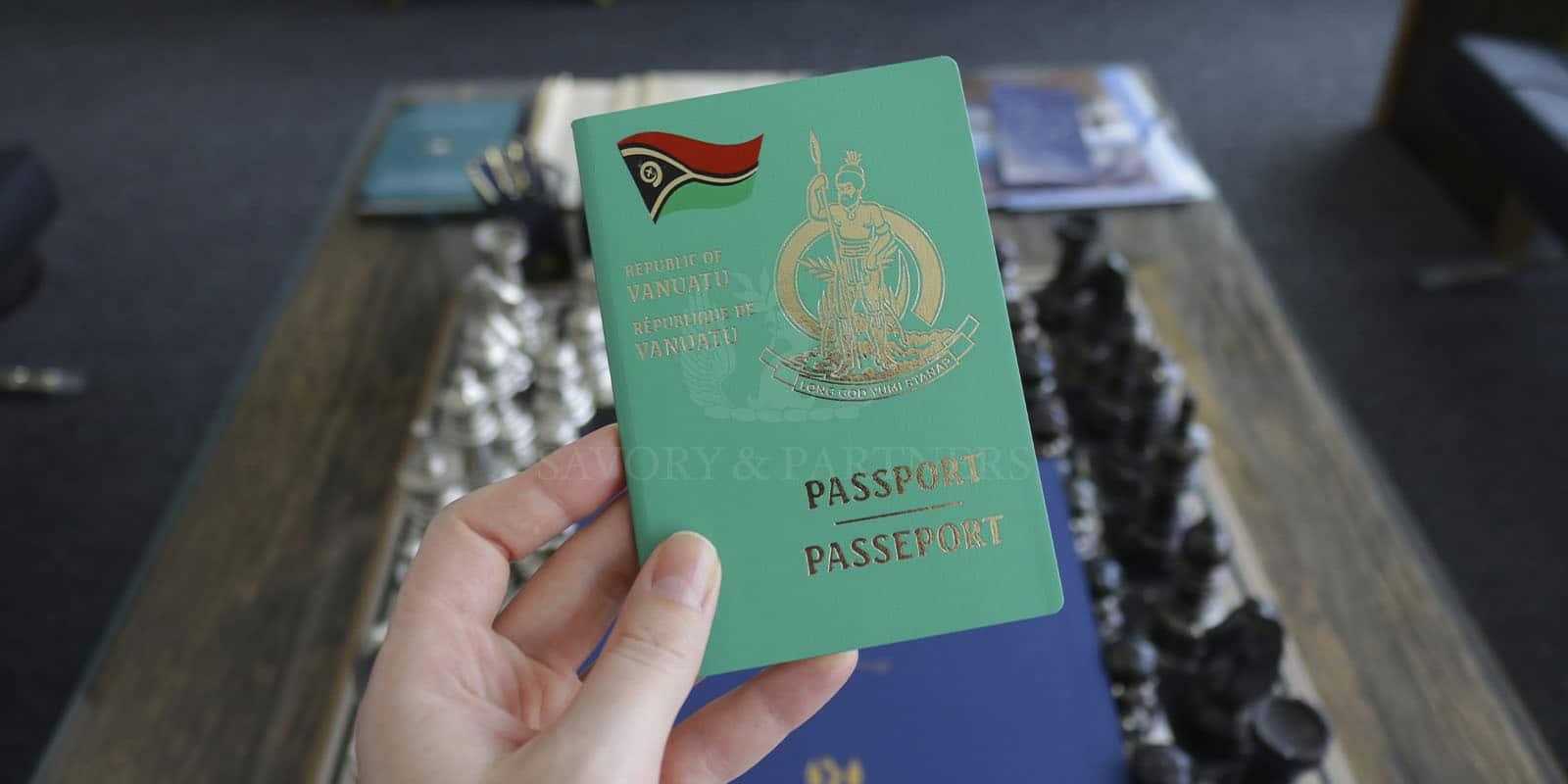 Vanuatu passport at Savory & Partners offices in Dubai.