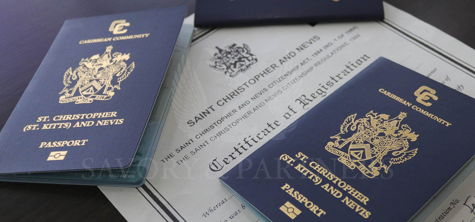 St Kitts and Nevis passports at Savory and Partners offices in Dubai