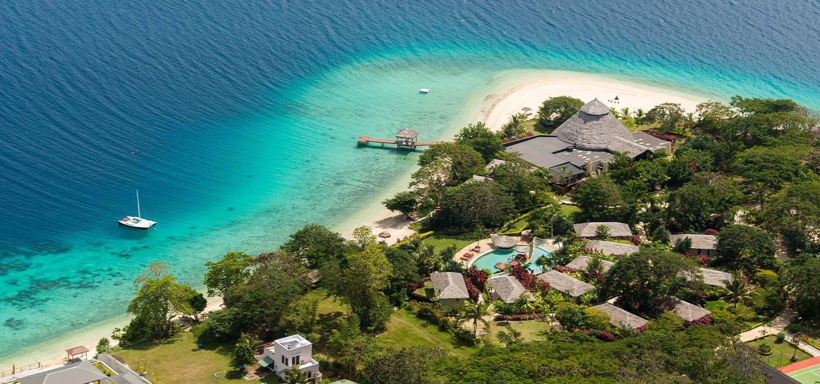 Aerial view of Vanuatu seashore.
