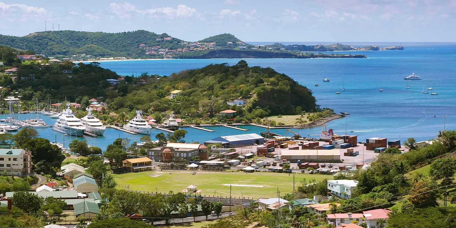 Aerial view of St. George's in Grenada.