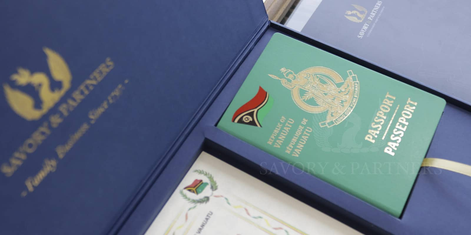 Vanuatu passport at Savory & Partners offices in Dubai