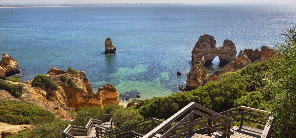 Coastline in Algarve region in Portugal