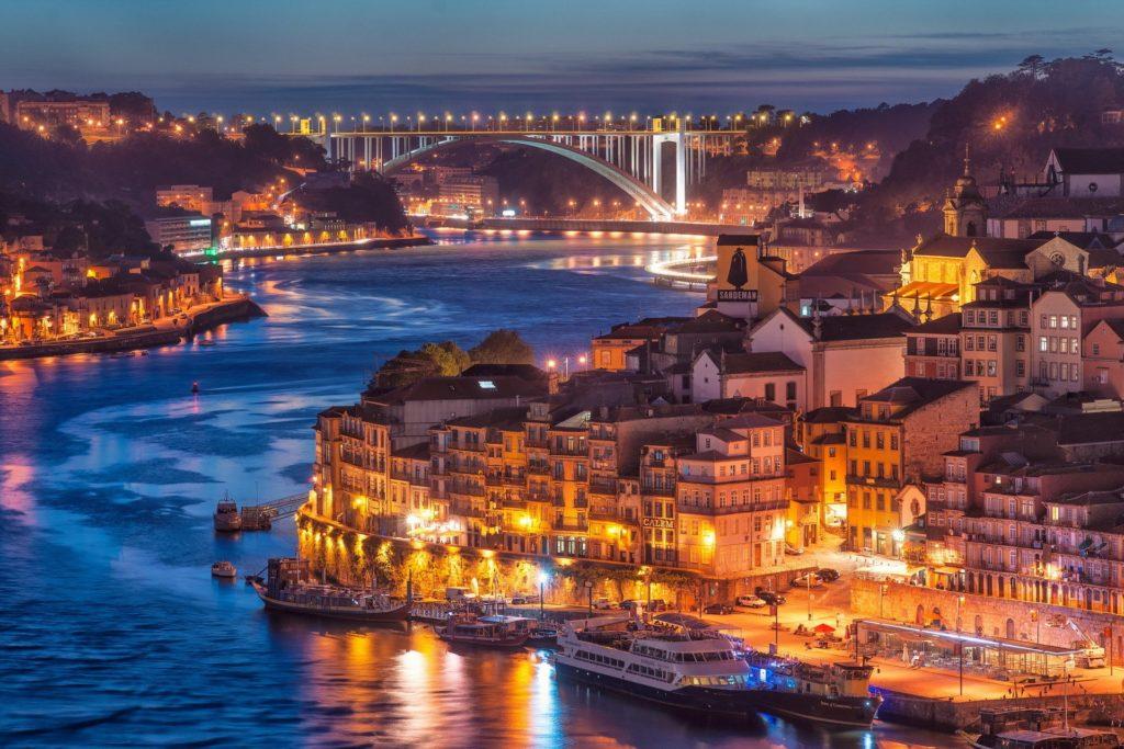 Aerial view of Douro River in Porto, Portugal.