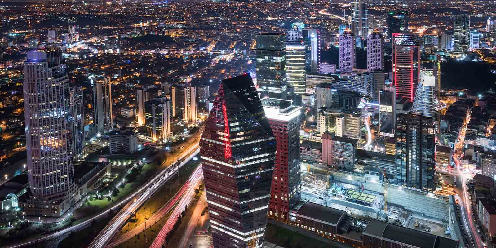 Aerial view of Istanbul city at night