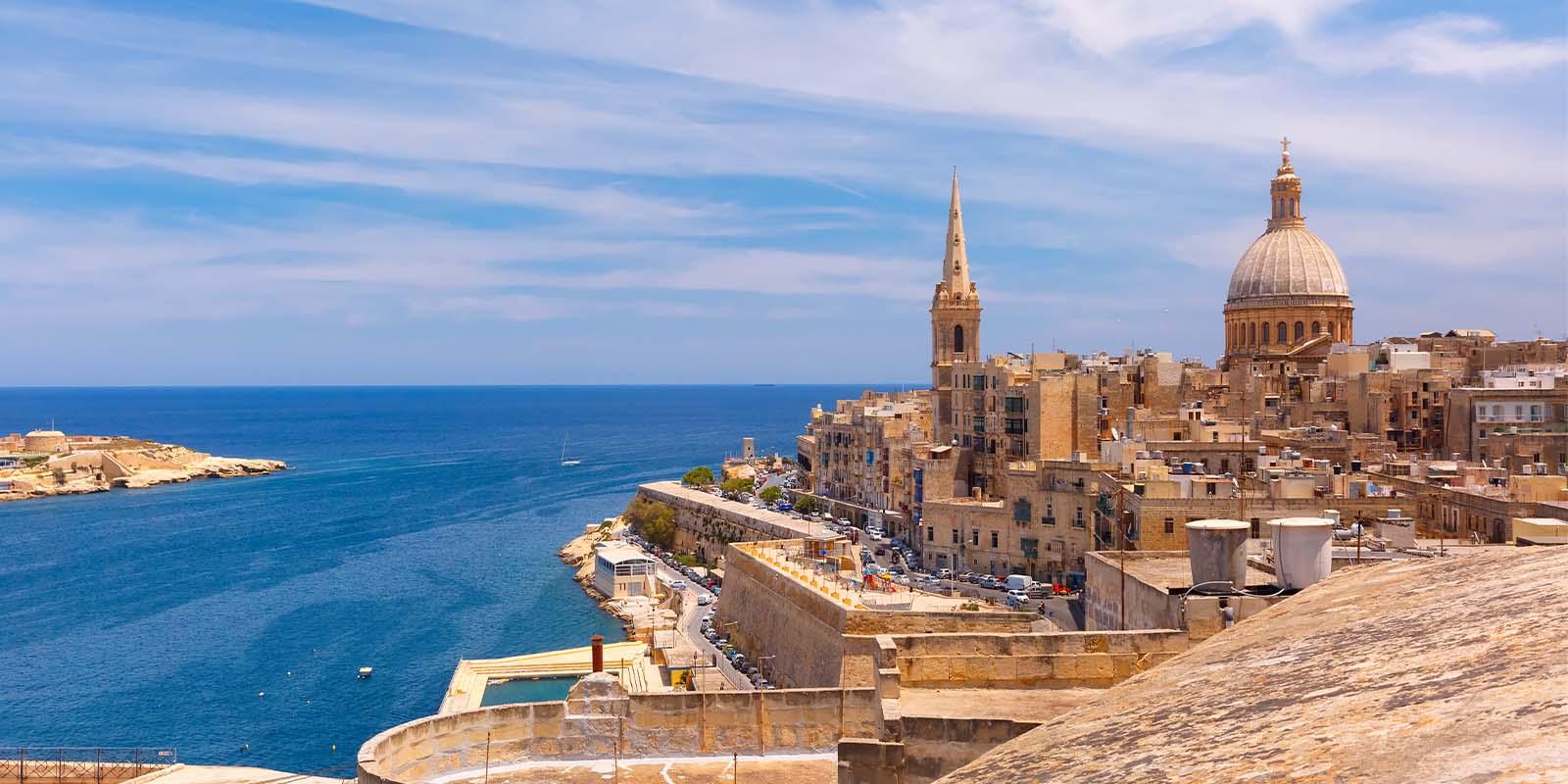 Aerial view of Valletta city in Malta