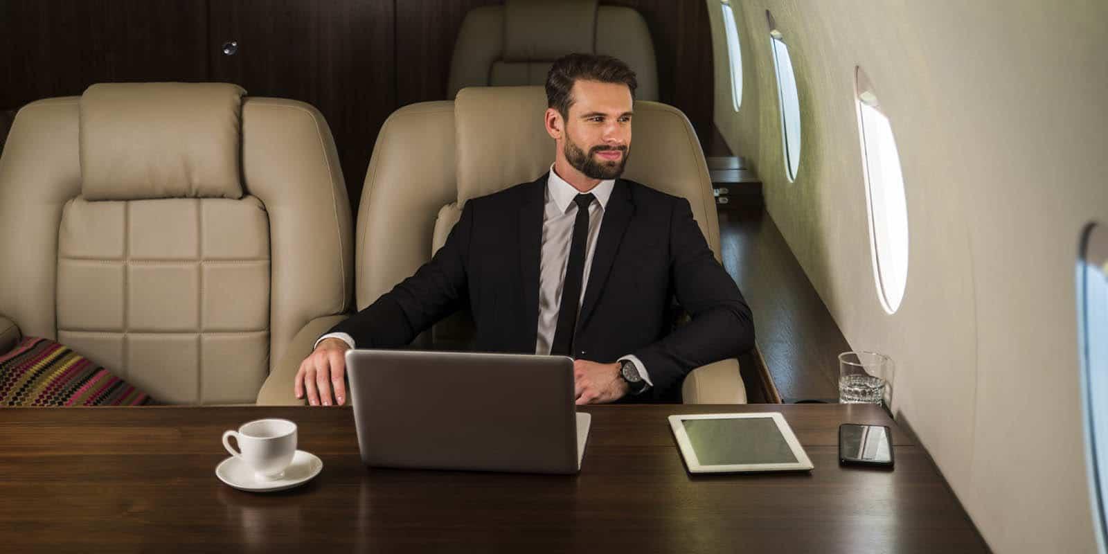 Economic citizen travelling in his private jet