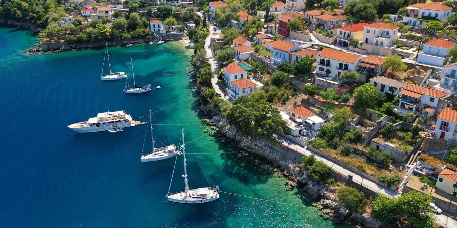 Aerial view of Greek coast - Greece Golden Visa Program