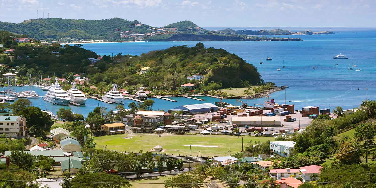 Aerial view of the Caribbean Island of Grenada.