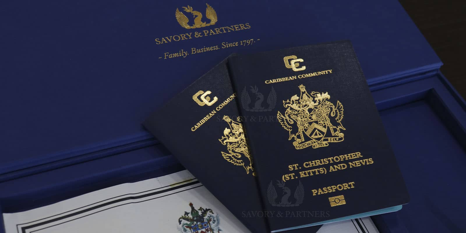 St Kitts and Nevis passports at Savory & Partners offices in Dubai.