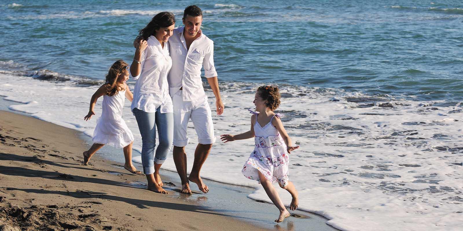 Family enjoys the beach in Grenada
