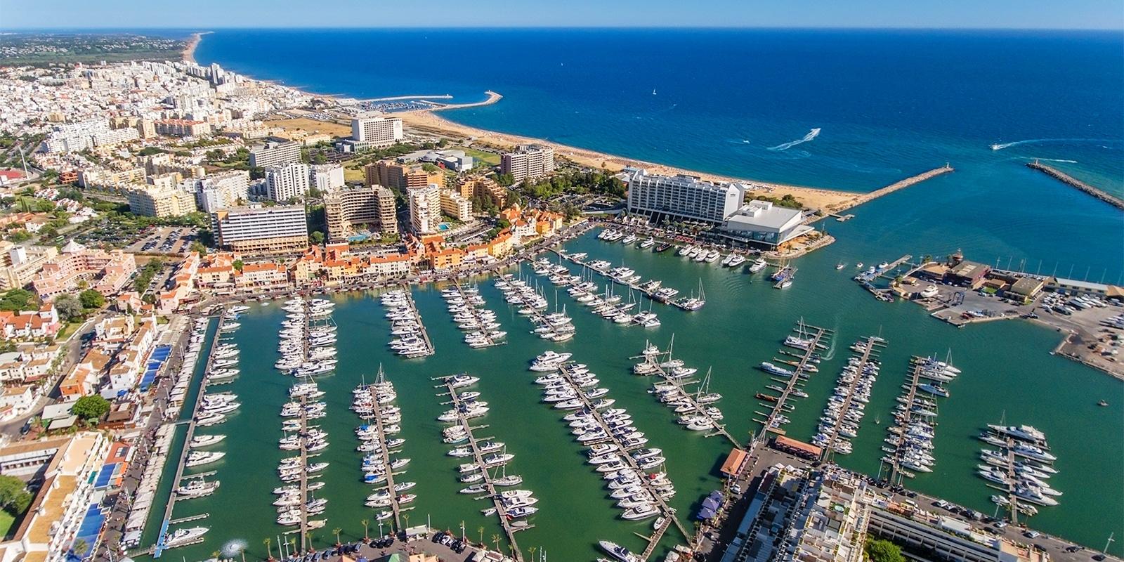 Aerial view of Algarve region.