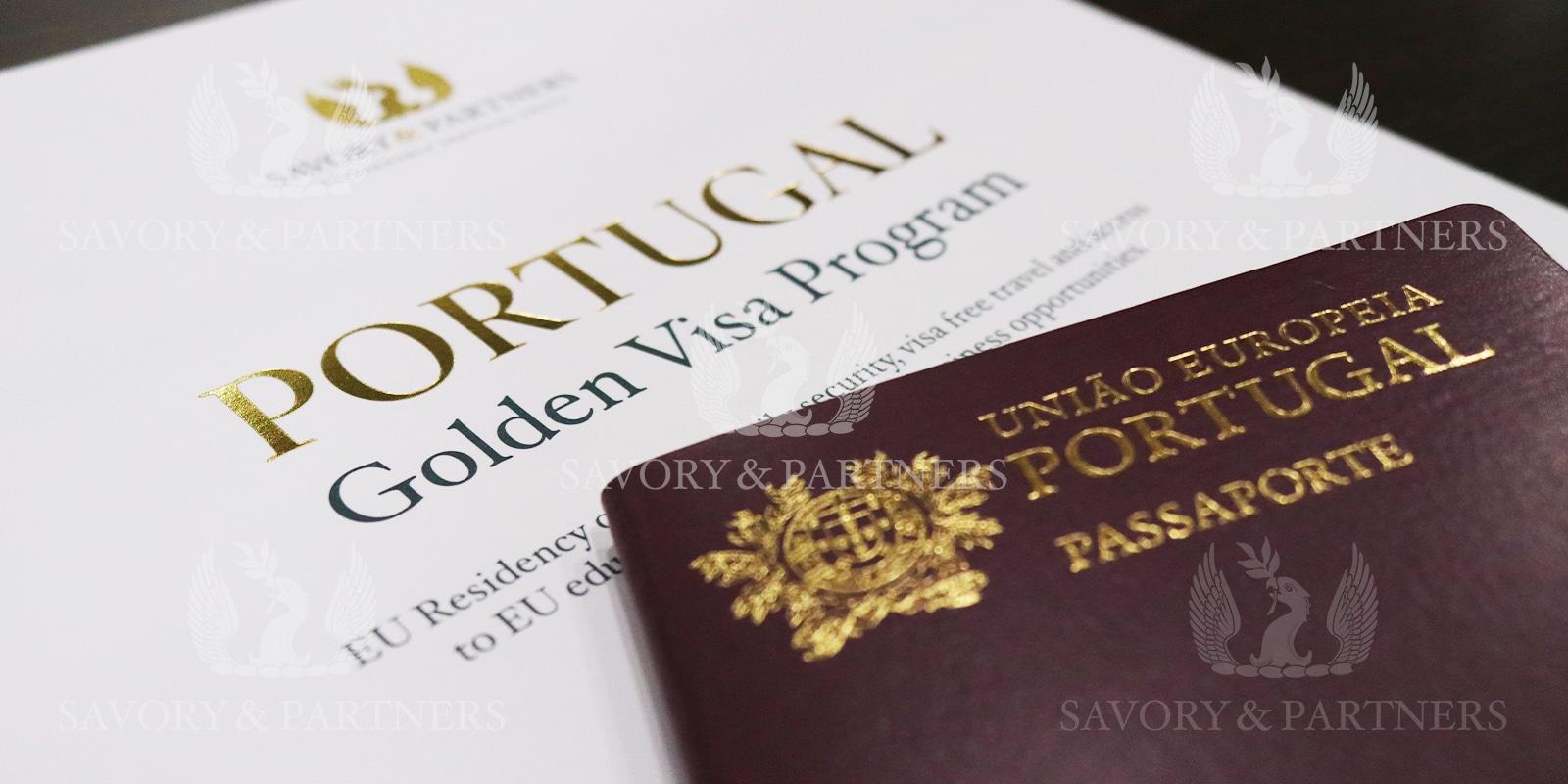 Portuguese passport at Savory & Partners office in Dubai, UAE.