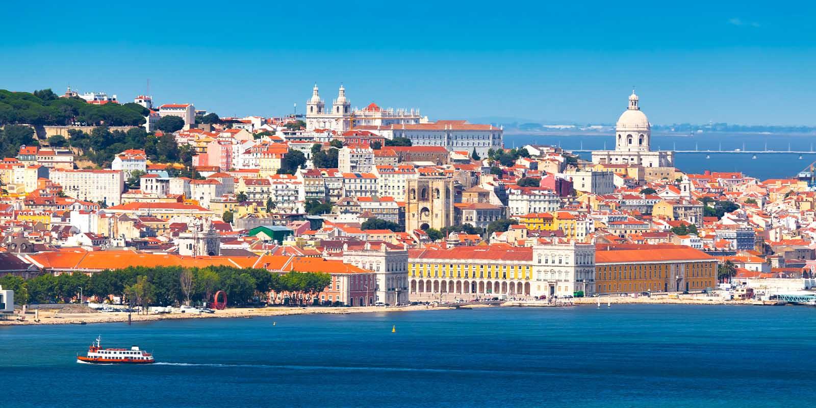 Lisbon Skyline as seen from Almada (Portugal).