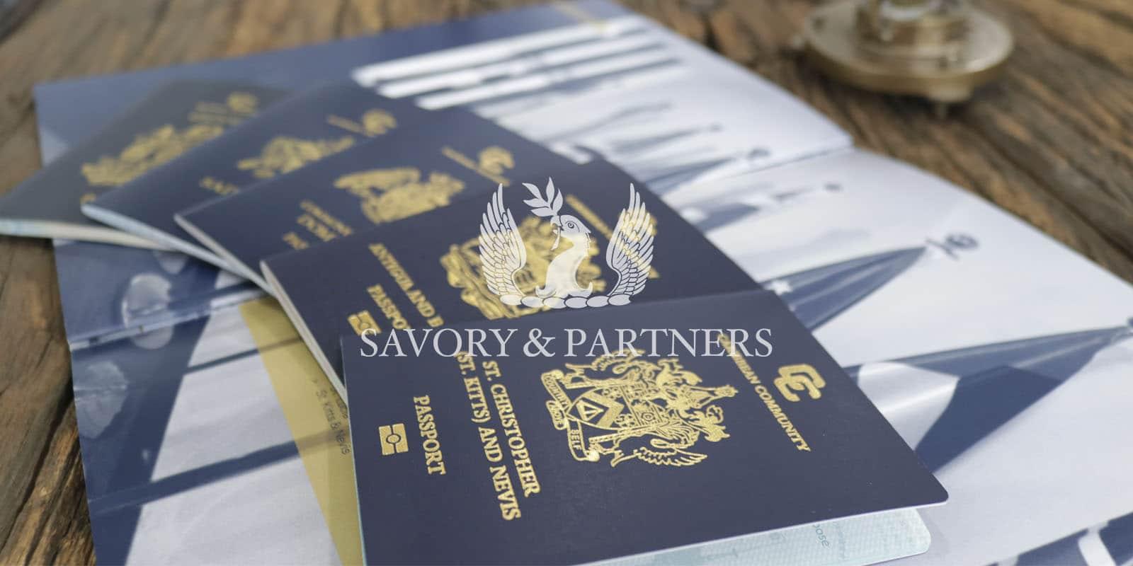 Caribbean passports at Savory & Partners office in Dubai